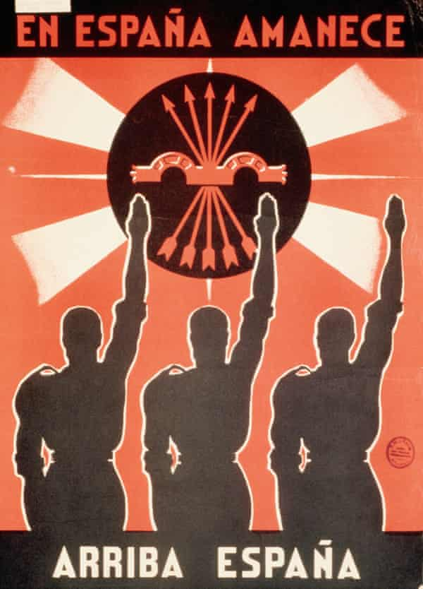 A Spanish civil war poster shows the silhouettes of three men saluting the falange symbol.