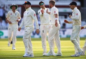 Olly Stone of England (secong right) celebrates taking the wicket of Tim Murtagh of Ireland.