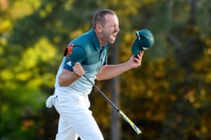 Sergio Garcia celebrates after defeating Justin Rose at the first play-off hole to win the Masters.