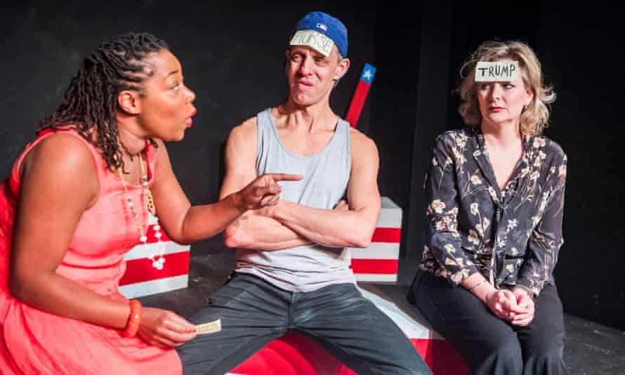 Intelligent consideration … Michele Austin, Trevor White and Sara Stewart in What Am I? by Lily Bevan, part of Top Trumps.