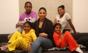 'I'm always having to make hard choices'. Umiama Qureshi with son Kareem and daughters Zahra, in orange, Niala, in white, and Laila, in yellow.