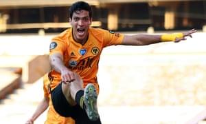 Raul Jimenez of Wolverhampton Wanderers celebrates scoring the opening goal.