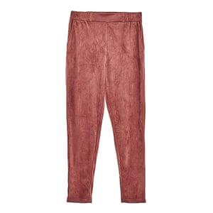dark pink faux suede joggers, Zara