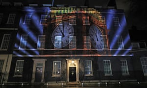An image of Big Ben projected on to 10 Downing Street