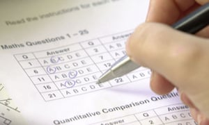 Anonymous pupil fills in a multiple choice exam paper