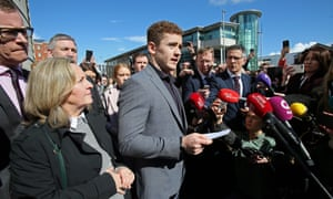 Paddy Jackson speaks to members of the media as he leaves court in Belfast on 28 March 2018, after being found not guilty of a charge of rape