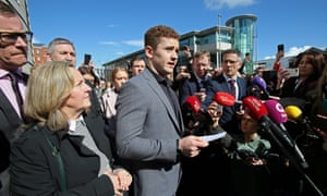 Paddy Jackson speaks to the media after being found not guilty, March 2018