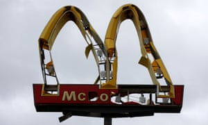 A McDonald's sign damaged by Hurricane Michael