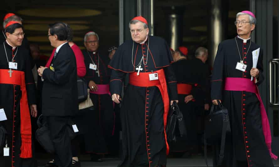Cardinal Raymond Burke (centre), one of Pope Francis's most prominent enemies