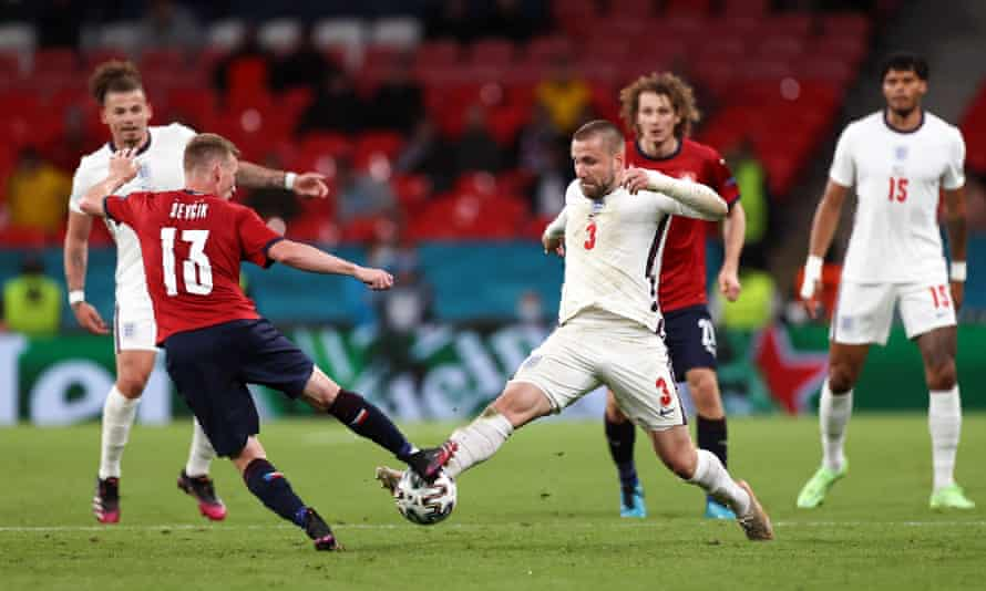 Luke Shaw (right) of England tackles Petr Sevcik of Czech Republic during the game England won 1-0.