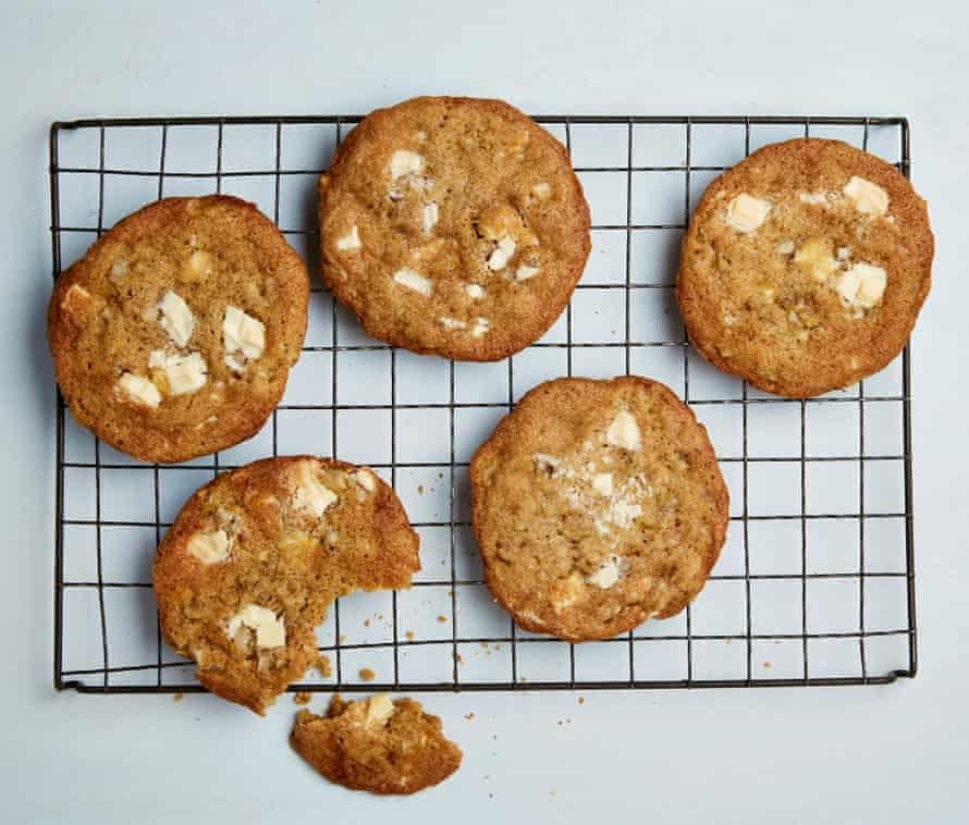 Yotam Ottolenghi's white chocolate and pear cookies with lime and cardamom