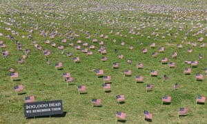 American flags on the Washington National Mall, in memory of the more than 200,000 Americans who have lost their lives to the coronavirus.