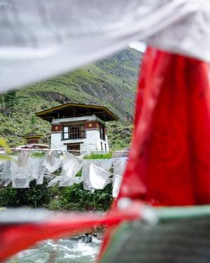 Flag waving, Bhutan.