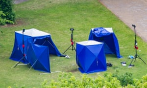 Police tents in Forbury Gardens in Reading.