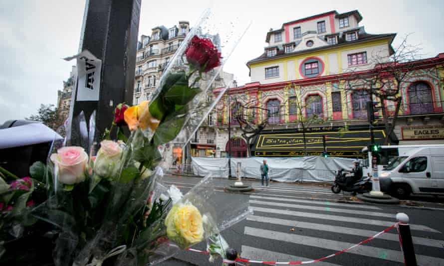 Flowers outside Le Bataclan in the wake of the attacks.