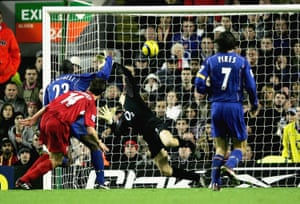 Liverpool's Xabi Alonso scores the first of three sumptuous goals on the day.