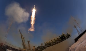 The Soyuz rocket launches into space