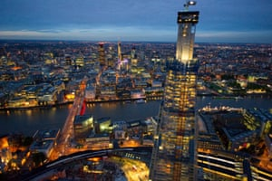 Aerial view of the Shard, which is now 800ft (244 metres) tall. The tower, near London Bridge, will be the tallest building in the EU at 1,017ft when completed in 2012.