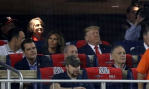 Donald Trump at the Washington Nationals v Houston Astros game in Washington DC