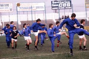 Scotland's Don Masson, Lou Macari, Joe Jordan, Willie Johnstone and Bruce Rioch training ahead of the start of the tournament.