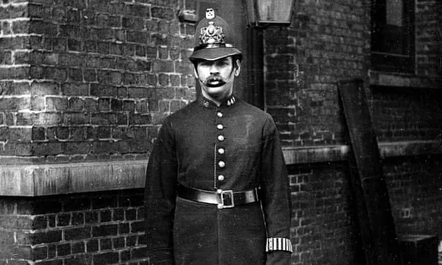 A London policeman in a 19th century uniform