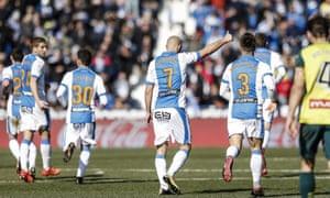 Nordin Amrabat celebrates his goal against Espanyol.