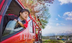 Picture of Keito Kobayashi, a fireman, from the Otari village annual calendar
