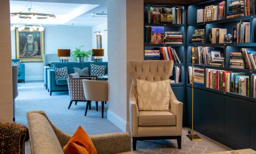 The library and lounge at Audley Nightingale Place retirement village in Clapham.