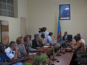David Gressly, the UN's deputy special representative for DRC, meets with security officials in Kananga