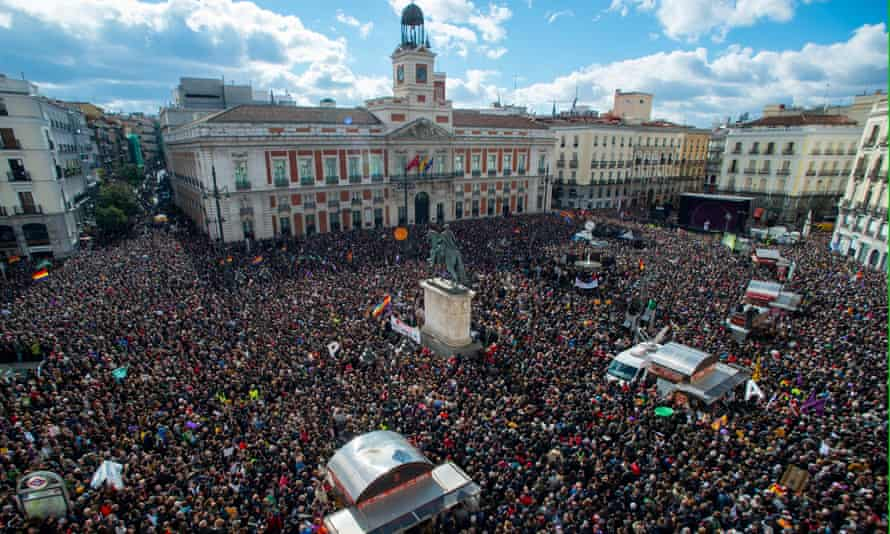 Podemos supporters in Madrid last year: 'Disenchantment with politics is everywhere in Europe: from Podemos' attack on la casta in Spain to the successes of the Five Star Movement in Italy.'