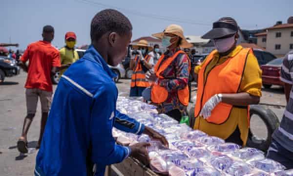 Residents make use of the food bank in Oniru.