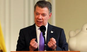 President Santos thanks the people who campaigned for the peace accord to be approved in the referendum, after winning the Nobel peace prize.