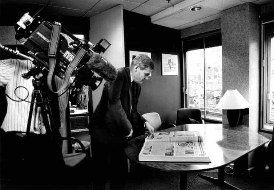Former Guardian editor Peter Preston being filmed for television in 1991.