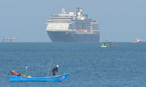 The Westerdam approaches port in Sihanoukville on Thursday.