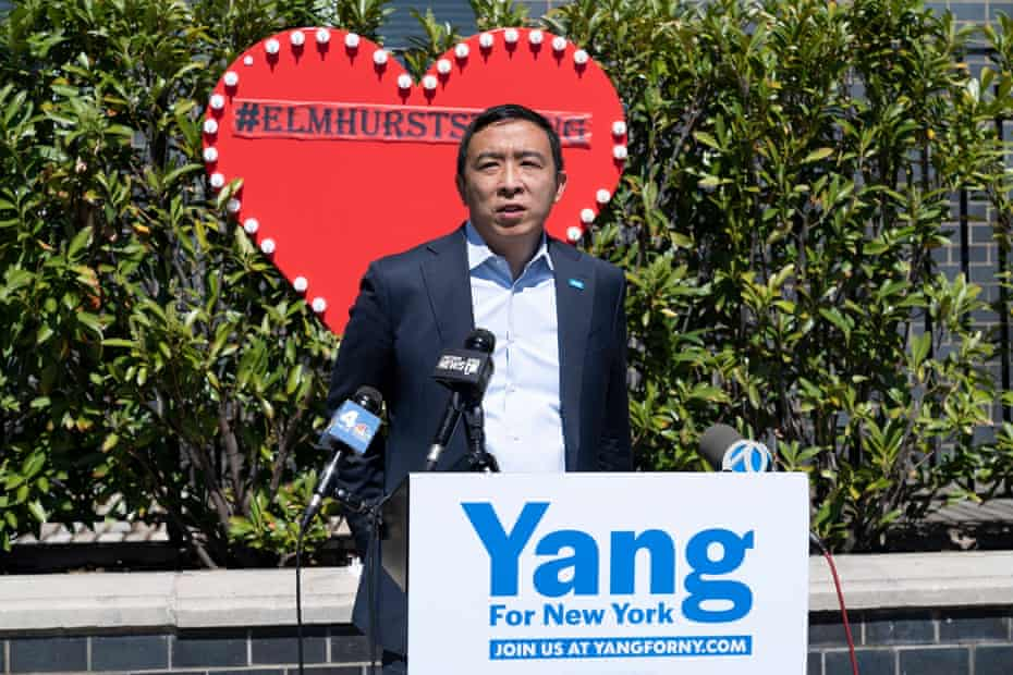 Andrew Yang addressed pandemic and how city should recover from it at Elmhurst Hospital, New York, on 13 Apr 2021.
