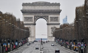 Champs-Élysées is seen nearly empty during the lockdown in Paris.