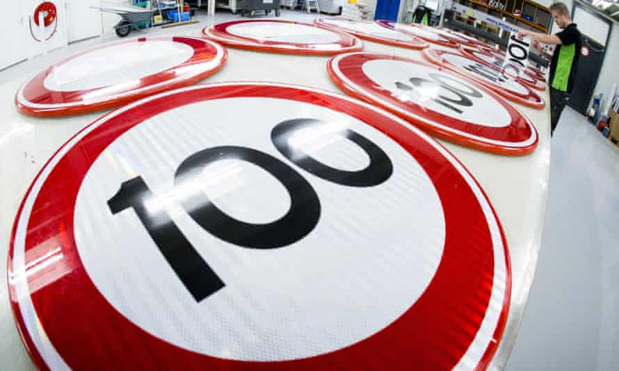 Factory making 100 speed limit road signs