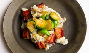Spuds you like: blue cheese mash with pancetta and sprouts.
