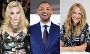 Madonna, Will Smith and Julia Roberts.