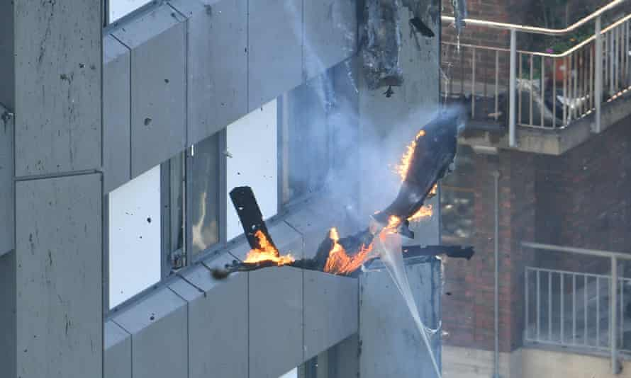 Burning debris from Grenfell Tower thought to be the cladding used on the outside.