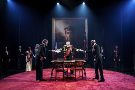 From left, Dominic Mafham as Albany, Ian McKellen as Lear and Patrick Robinson as Cornwall in Chichester festival theatre's King Lear.
