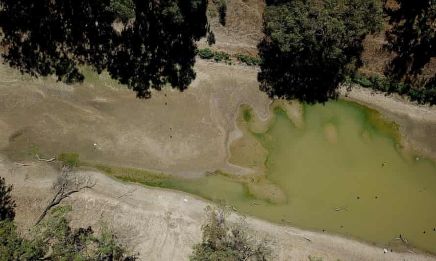 Aerial view of the Darling river bed