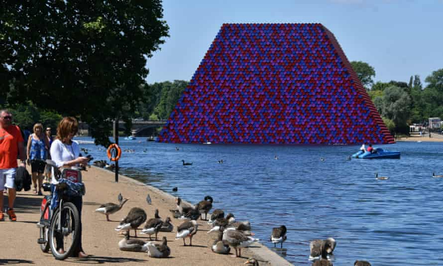 Bang the drum … the London Mastaba by Christo, on Hyde Park's Serpentine lake, is his first UK outdoor work.
