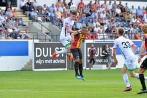 George Hirst climbs high against Mechelen this month