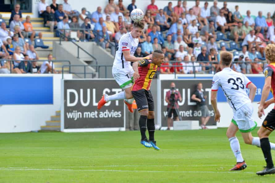 George Hirst climbs high against Mechelen this month