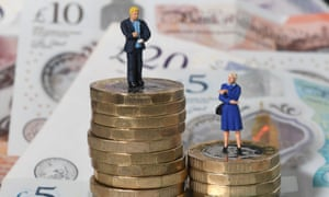 Model of woman standing on stack of pound coins, and model of man on higher stack of coins