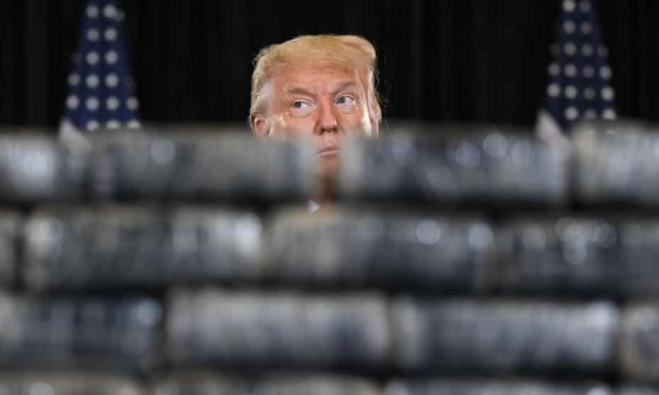 US President Donald Trump attends a briefing on enhanced narcotics operations at the US Southern Command in Doral, Florida, on Friday.