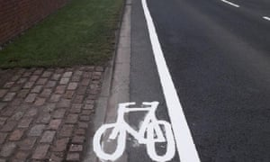 A particularly narrow cycle lane in Wigan.