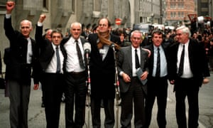 Chris Mullin, centre, with the Birmingham Six outside the Old Bailey in London in 1991, after their convictions for the pub bombings were quashed.