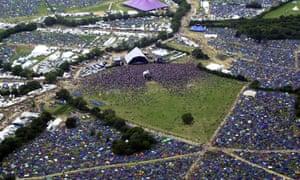 The Glastonbury site on 27 June 2003.